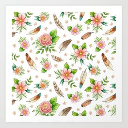 Feathers and Flowers Art Print