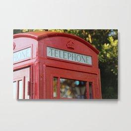 London Telephone Box, Red UK Phone Booth Metal Print