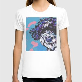 PWD Portuguese Water Dog Fun bright colorful Pop Art Dog Paintingby Lea T-shirt