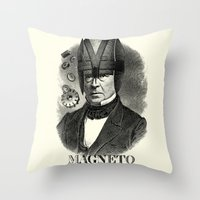 magneto Throw Pillows featuring MAGNETO by DIVIDUS