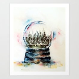 Snow globe - watercolour illustration Art Print