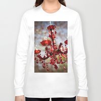 chandelier Long Sleeve T-shirts featuring Red Chandelier by Emily Lewin