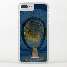 Tree Cactus in a Blue Desert Clear iPhone Case