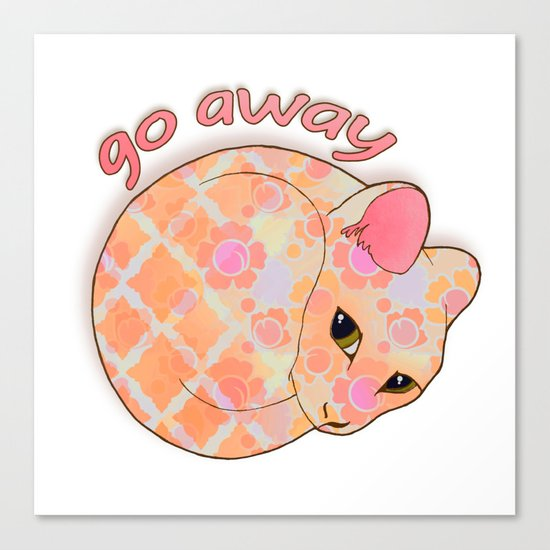 Go Away - Patterned Cat Illustration  Canvas Print
