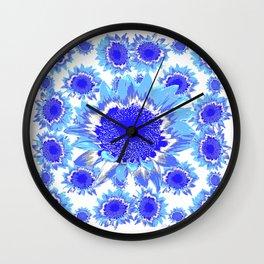 Decorative Delf Blue Tiles Abstracted Floral Art Wall Clock
