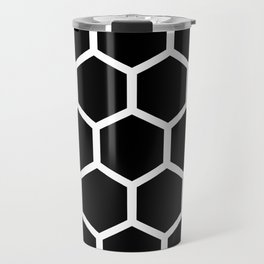 Honeycomb pattern - Black and White Travel Mug