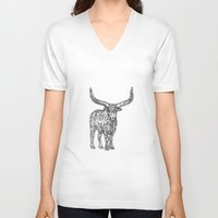 bull V-neck T-shirts featuring Bull by Takashi  Ariyoshi