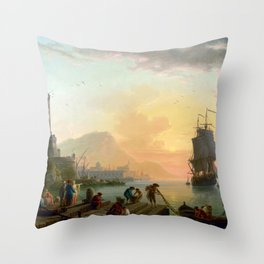Claude-Joseph Vernet A Calm at Mediterranean Port Throw Pillow