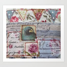 Bunting and Bird Art Print