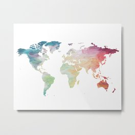 Painted World Map Metal Print