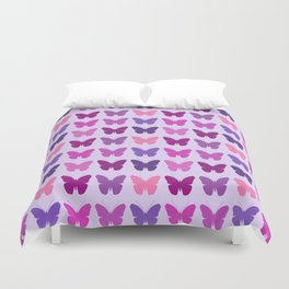 Butterly Silhouettes 3x3 Pinks Purples Mauves Duvet Cover