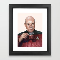 Tea. Earl Grey. Hot. Captain Picard Star Trek | Watercolor Framed Art Print