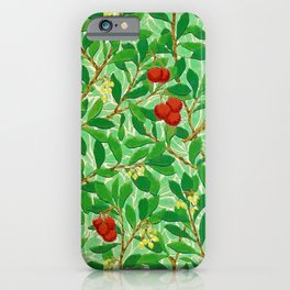 William Morris Lychee Tree Pattern, Light Jade Green iPhone Case