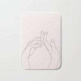 Hands line drawing illustration - Abi Natural Bath Mat