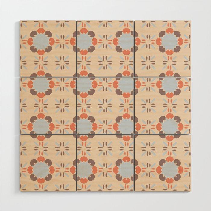 Blue Retro Tile Wood Wall Art