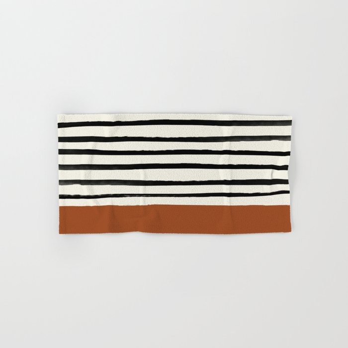 Burnt Orange x Stripes Hand & Bath Towel