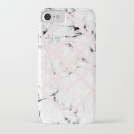 White Marble Concrete Look Blush Pink Geometric Squares iPhone Case