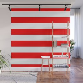Australian Flag Red and White Wide Horizontal Cabana Tent Stripe Wall Mural