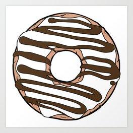 White Donut, Donut Frosting, Chocolate Icing, Glaze Art Print