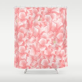 Hand painted coral white faux gold watercolor floral Shower Curtain