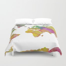 Map of the World - Watercolor 5 Duvet Cover