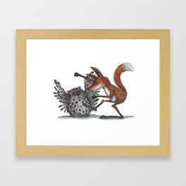 Owl & Fox dancing Framed Art Print