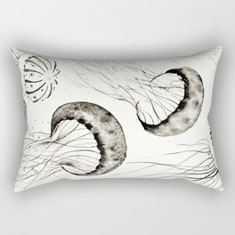 jelly fishes black and white Rectangular Pillow