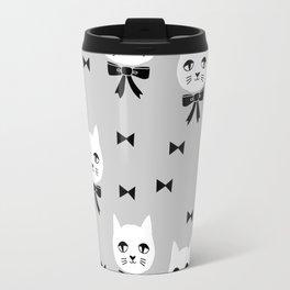 Cute Cats bow ties grey kittens cat art pattern design by andrea lauren Travel Mug