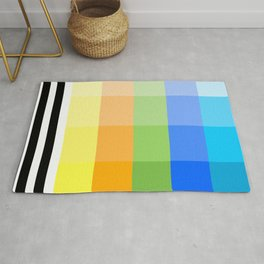Popsicle Black and White Stripes and Squares Colorful Design Rug