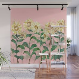Sunflowers in Pink Wall Mural
