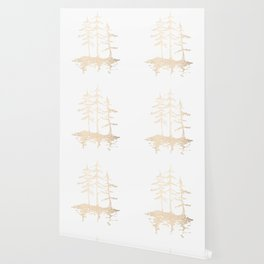 Three Sisters Forest White Gold Trees Wallpaper