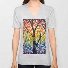 Abstract Art Original Landscape Painting ... Spectrum of Trees Unisex V-Neck