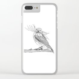Sparrow making a nest Clear iPhone Case