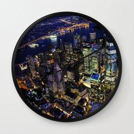 New York City, Manhattan, USA night cityscape Wall Clock