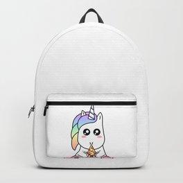 Cute Funny Kawaii Unicorn Eating Pizza Slice Magical Rainbow Backpack