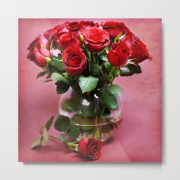 bouquet of red roses in vase Metal Print