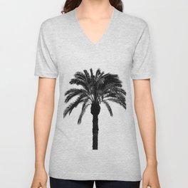 Black and white tropical palm tree Unisex V-Neck