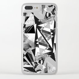 Monochrome sprayed textured triangles Clear iPhone Case