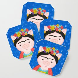 Frida pig with flowers and blue background Coaster