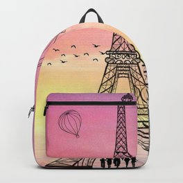 Colorful Eiffle Tower Background Backpack
