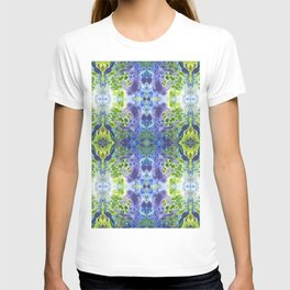 Psycho - Green, White, Purple, Green Abstract Pattern by annmariescreations T-shirt