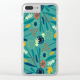Floral dance in blue Clear iPhone Case