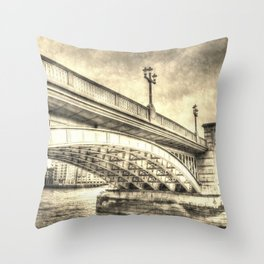 Southwark Bridge Vintage Art Throw Pillow