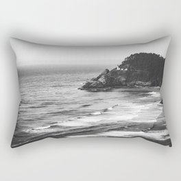 Pacific Northwest Grandeur - Heceda Lighthouse Black and White Rectangular Pillow