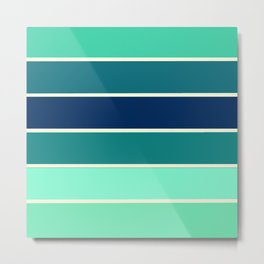Stripes Aqua & Teal  Metal Print