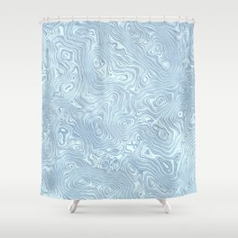 Baby Blue Silk Moire Pattern Shower Curtain