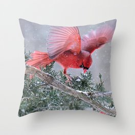 Cardinals Jostling on a Branch in a Snow Storm Throw Pillow
