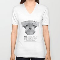 schnauzer V-neck T-shirts featuring The Schnauzer by The Origami Pet Collection