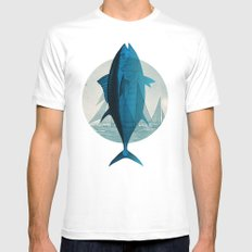 Northern Bluefin White Mens Fitted Tee MEDIUM