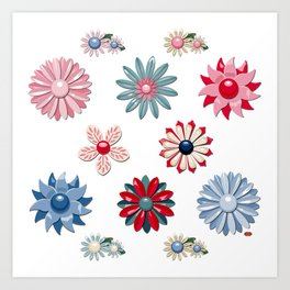 Jackie Enamel Pin Collection (Reds & Blues) Art Print